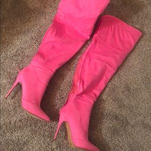 Fashion nova hot pink thigh high boots size 10